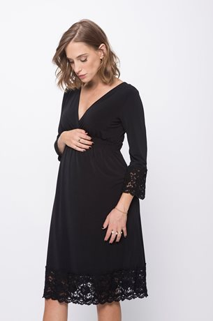 Picture of Empire Maternity Dress Mid Sleeve Black
