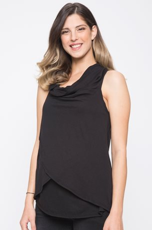 Picture of Cowl Neck Nursing Top Black