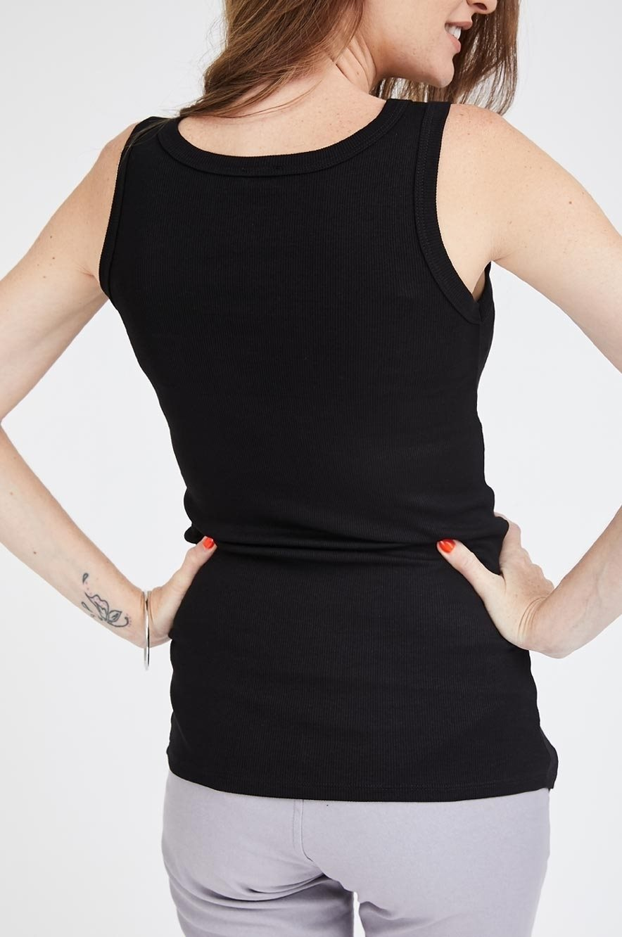 Picture of Basic Ribbed Maternity Tank Black