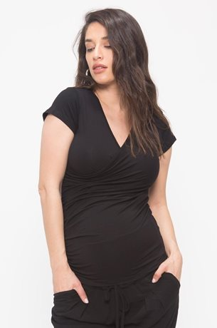 Picture of Wrapped Nursing Top S.sleeve Black