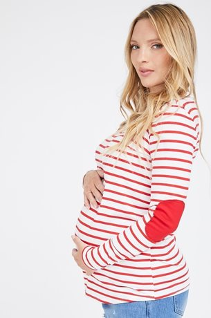 Picture of Patch Maternity Top Red and White