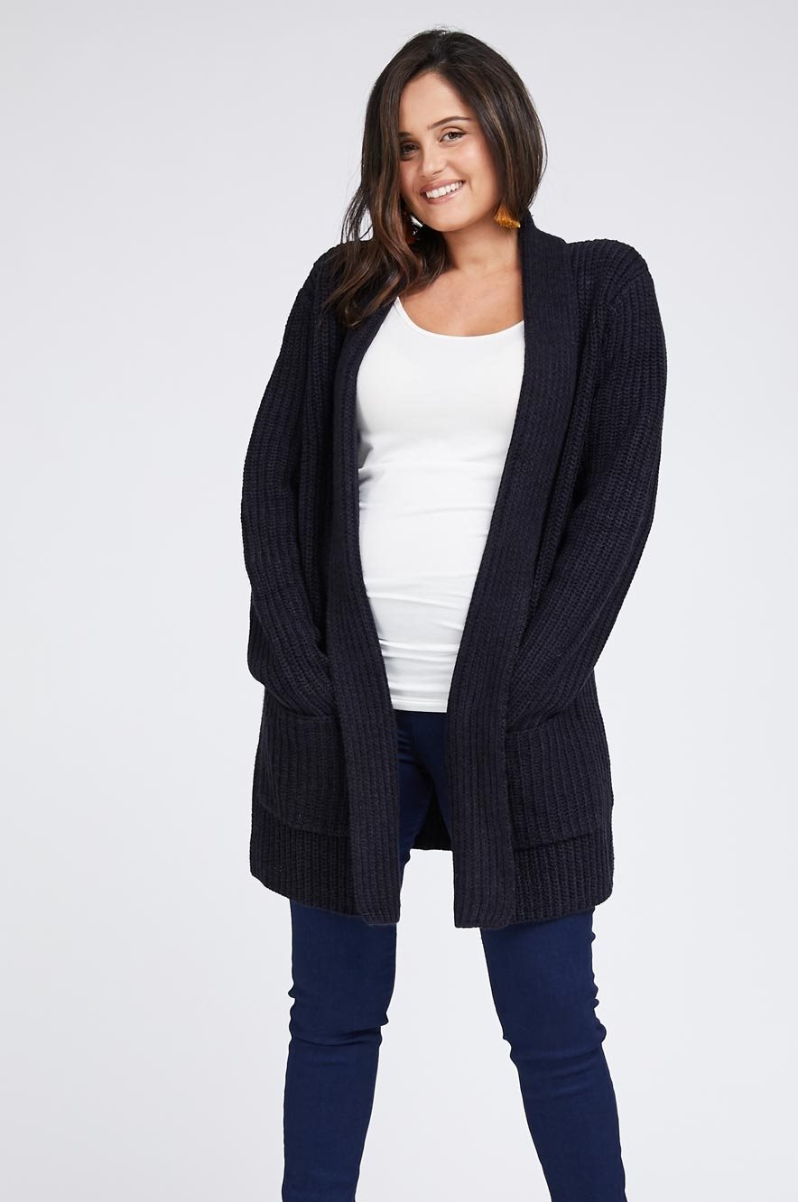 Picture of LONG KNIT COAT BLACK AND NAVY