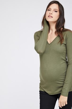 Picture of Ribbed Maternity V top L.sleeve Olive
