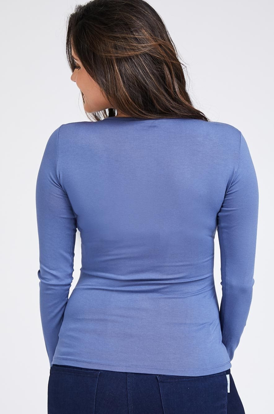 Picture of Cross over Nursing Top L.sleeve Blue