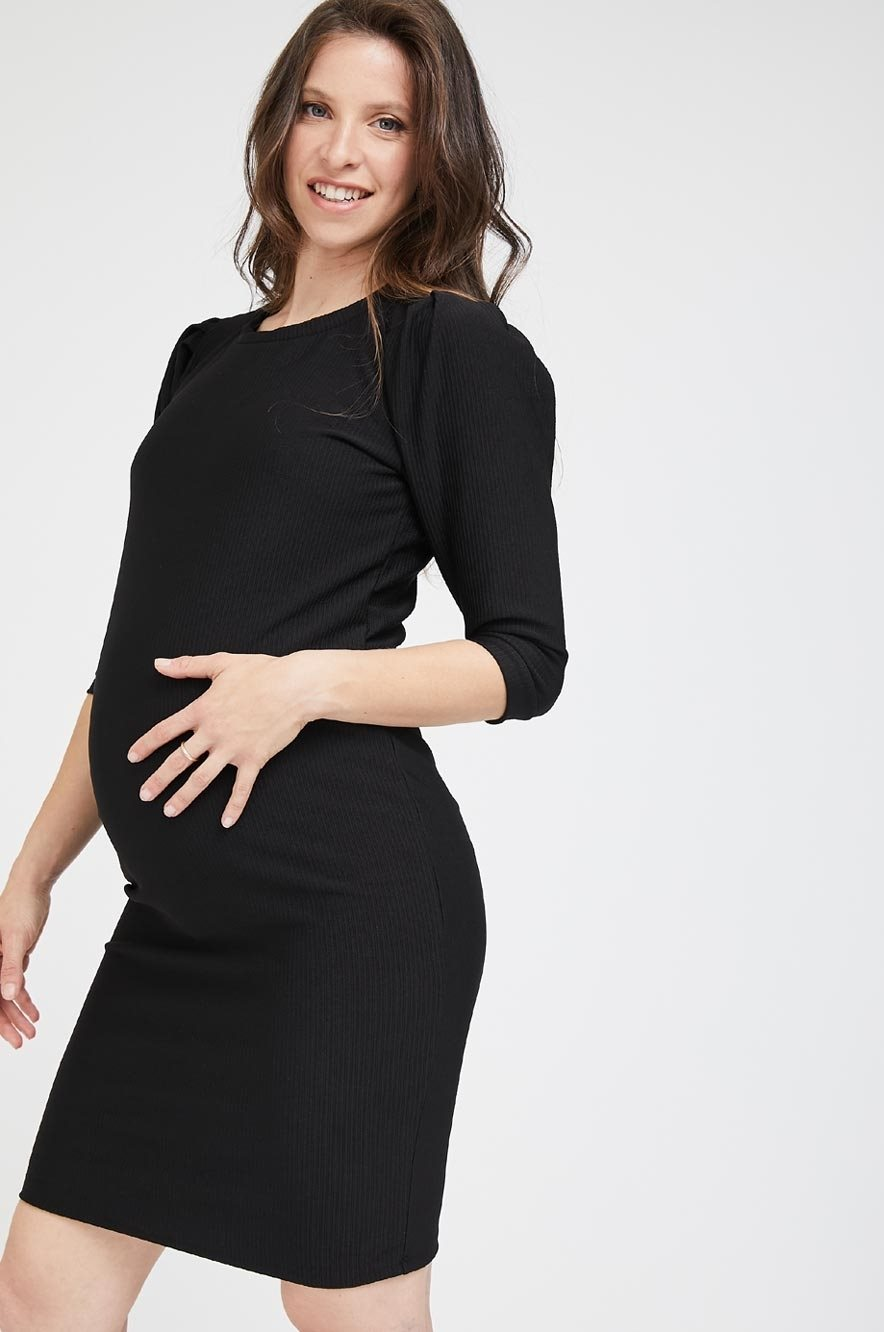 Picture of Puff Sleeve Dress Black