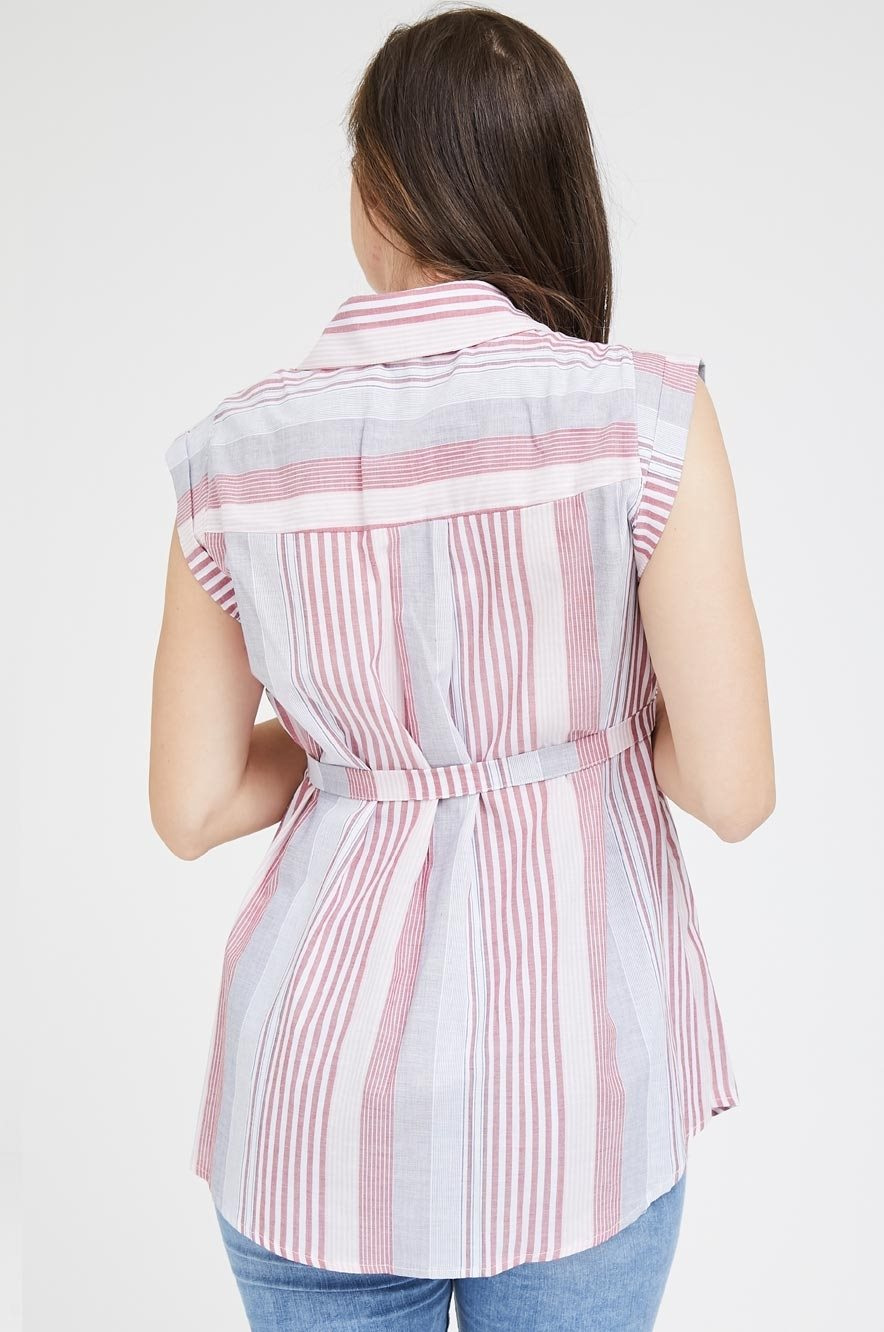 Picture of Sleeveless Button Top Pink Stripes