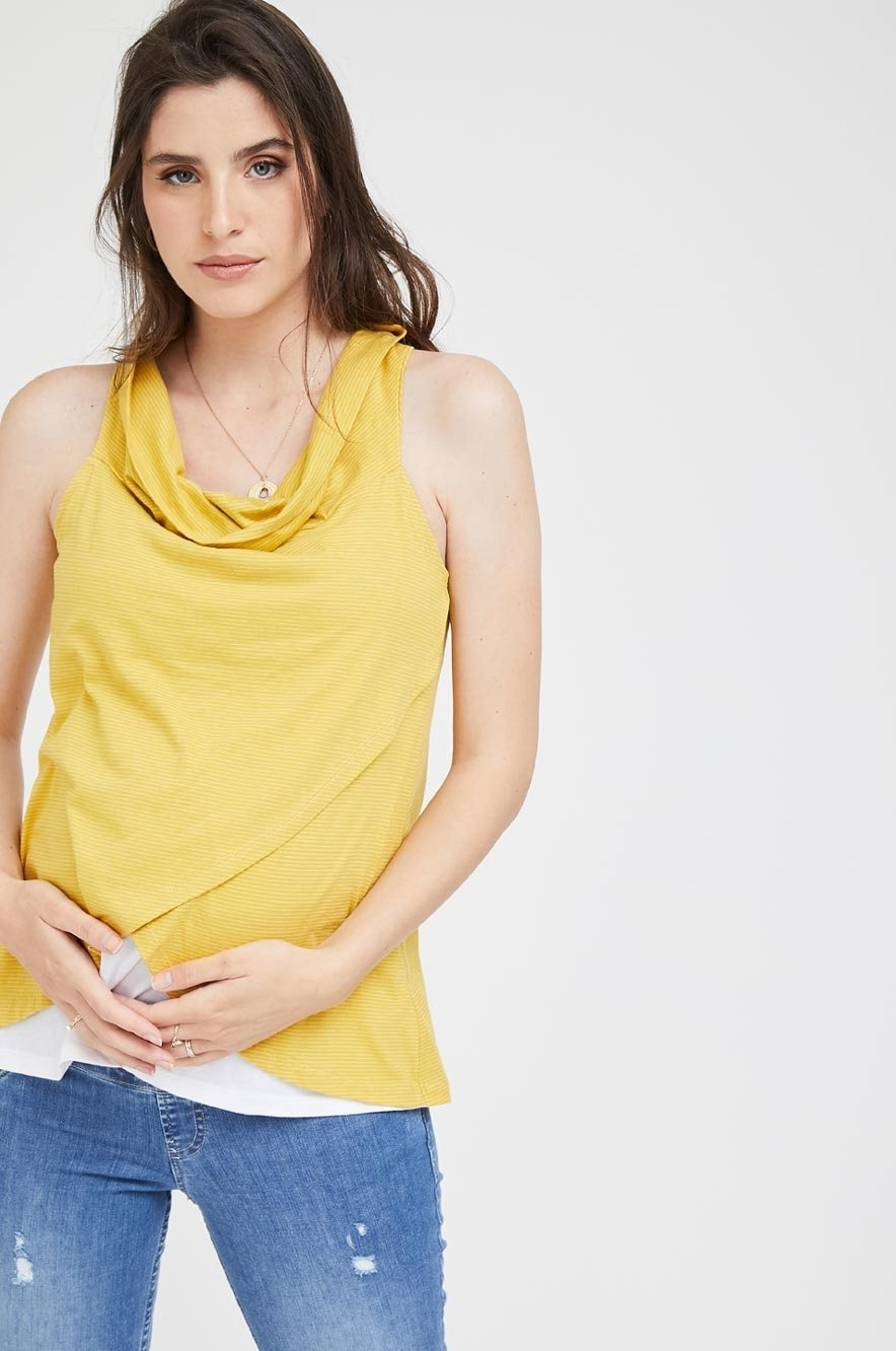 Picture of Cowl Neck Nursing Top Yellow
