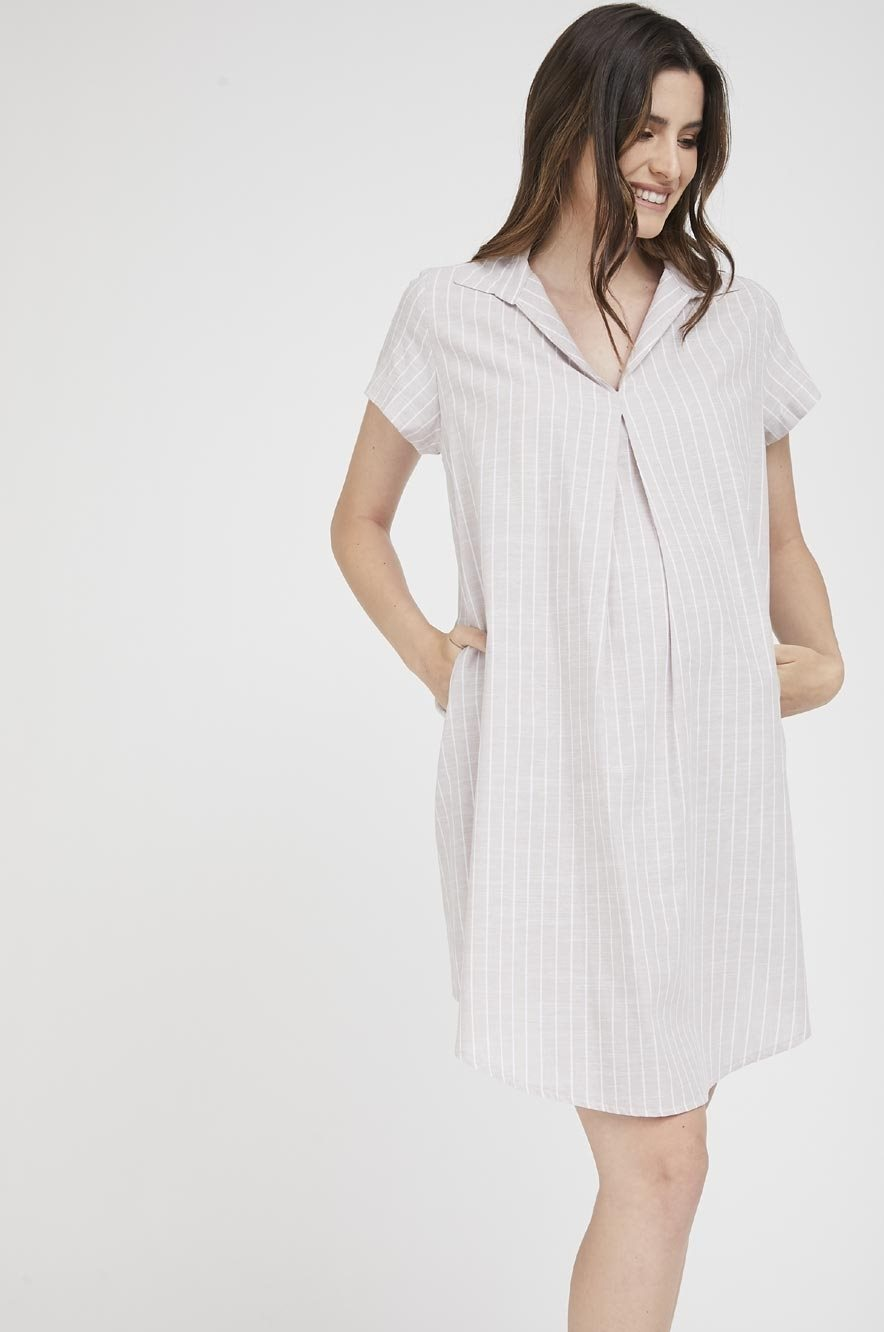 Picture of Maggie dress Beige Stripes