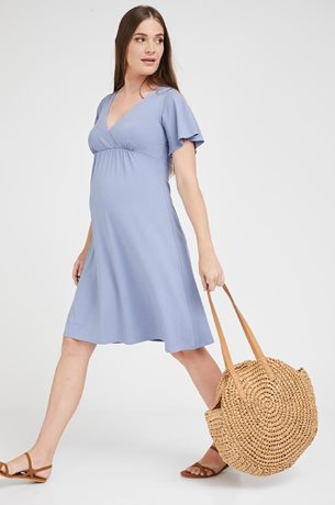 Picture of Odelia Cross Over Maternity Dress Blue Jean