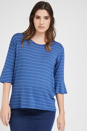 Picture of Bell sleeve Maternity Top Blue Stripes