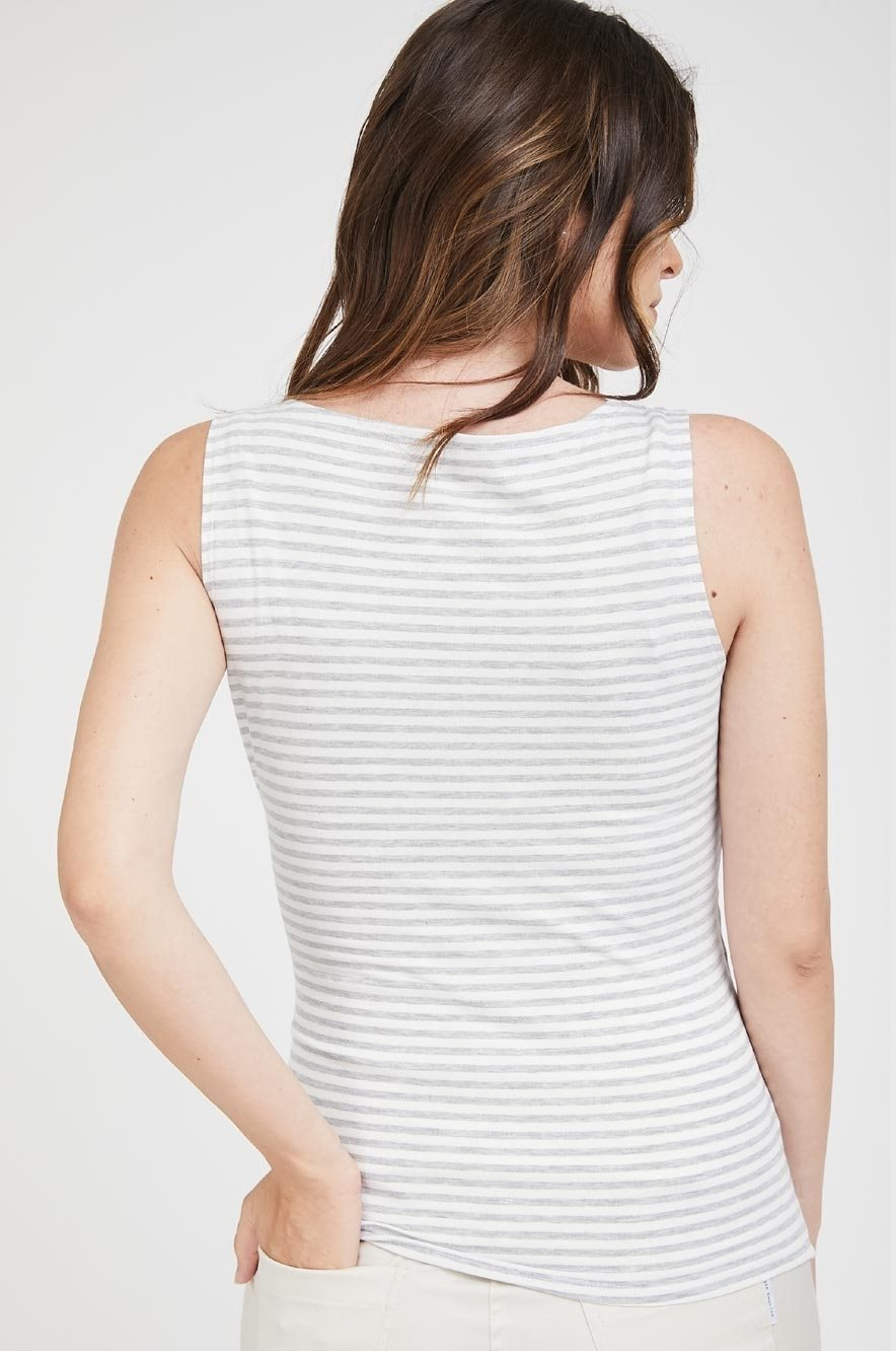 Picture of Wrap Over Nursing Tank Grey Stripes