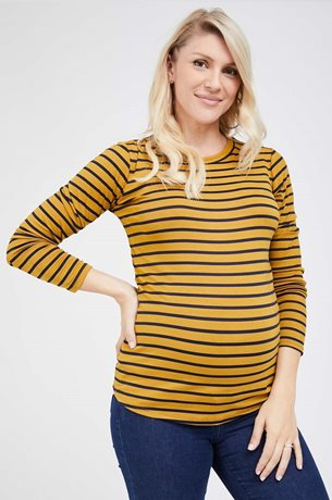 Picture of Niki Top Long Sleeve Mustard stripes