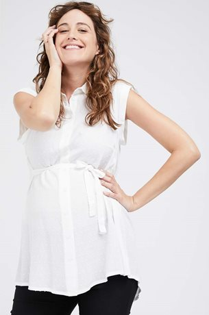 Picture of Sleeveless Button Top White