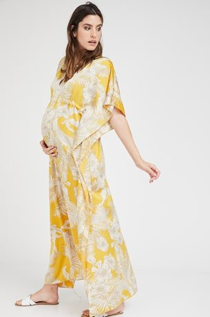 Picture of Sateen Glabia Dress Yellow print