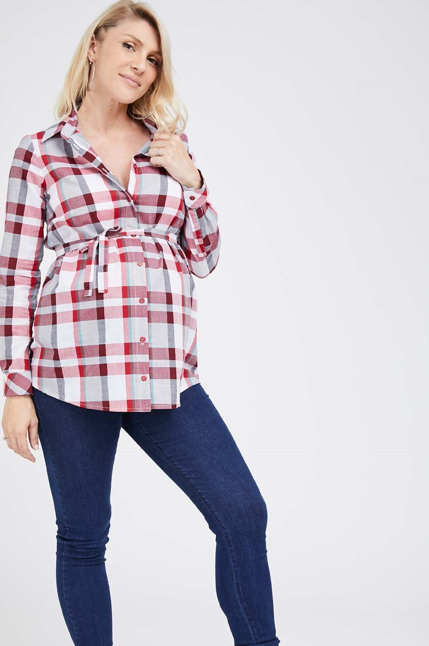 Picture of Check Button Through Blouse
