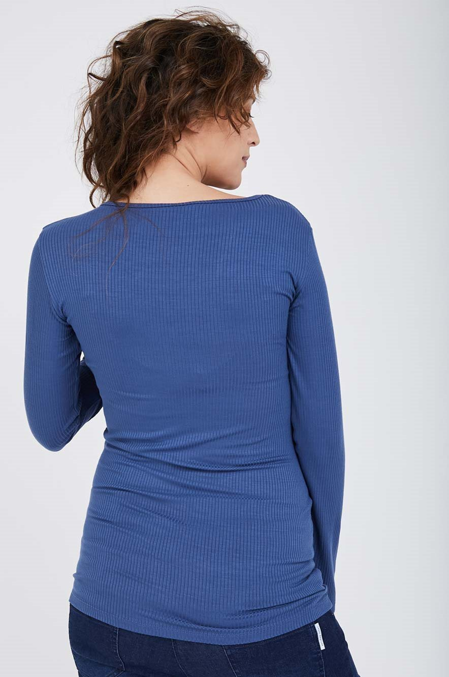Picture of Ribbed V top L.sleeve Blue