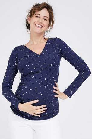 Picture of Cross over Nursing Top Navy Print