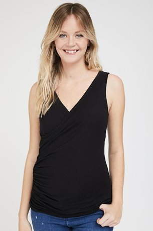 Picture of Wrap Over Nursing Tank Black Stripes