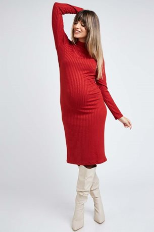 Picture of Leslie Ribbed Bodycon Maternity Dress Orange