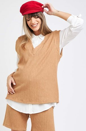Picture of V- Neck Knited Vest Camel