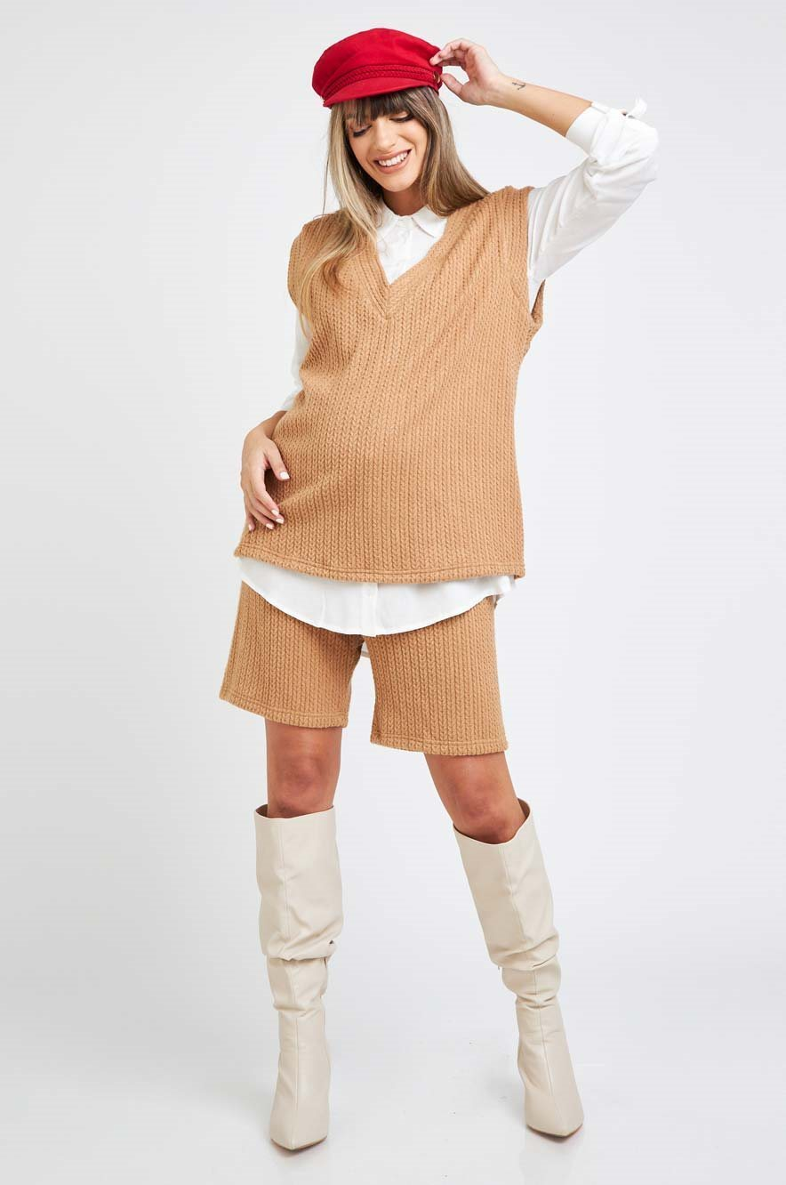 Picture of Knited Bermuda Shorts Camel