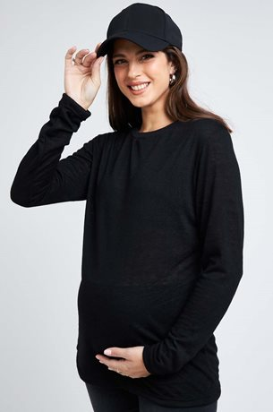 Picture of Niki Maternity Linen Top Black