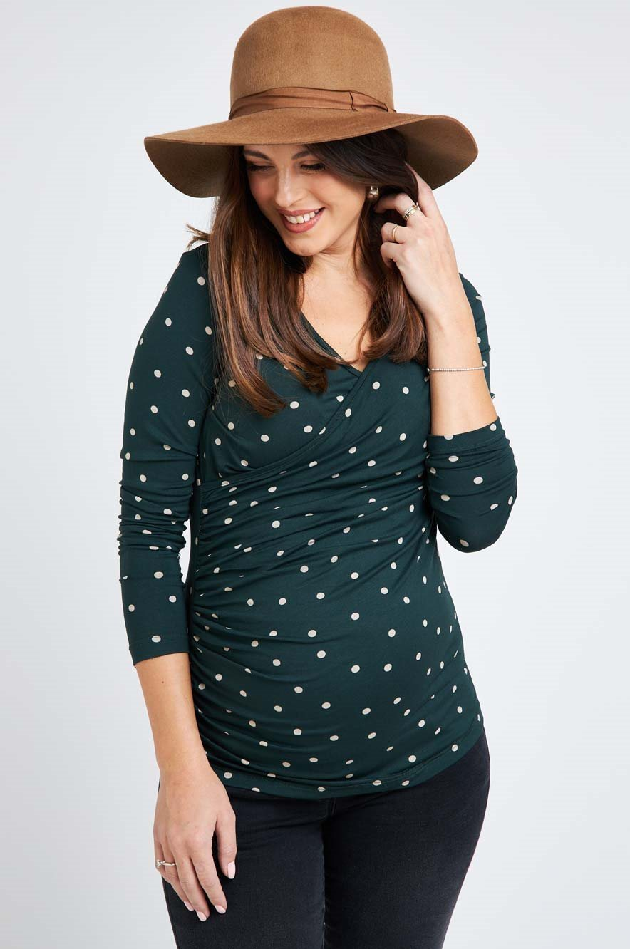 Picture of Cross over Nursing Top Green Dots