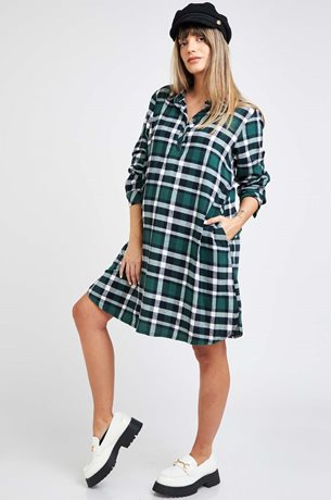 Picture of Shirt dress L.Sleeve Green Plaid