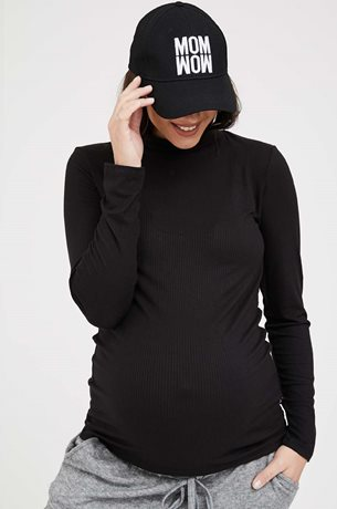 Picture of Ribbed Maternity Turtleneck Top Black