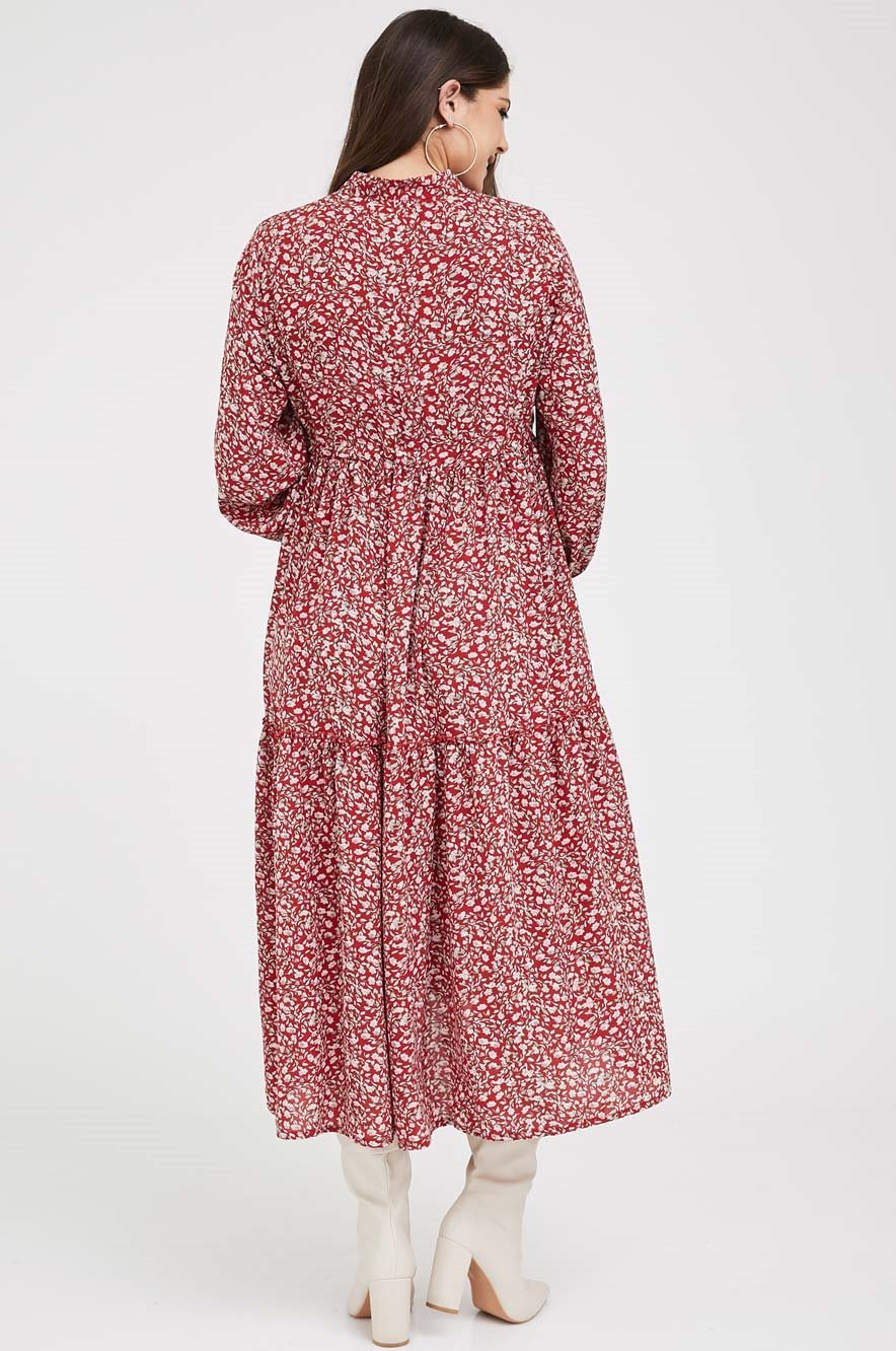 Picture of Claudette Dress Burgundy Print