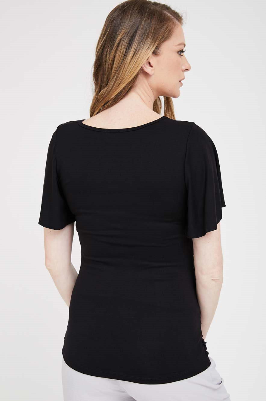 Picture of Flutter Sleeve Maternity Top Black