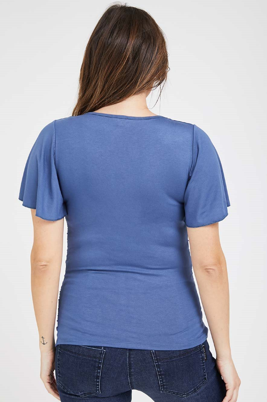 Picture of Flutter Sleeve Maternity Top Blue