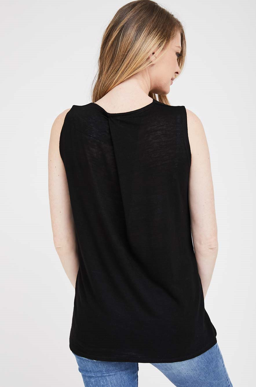 Picture of Draped Sleeveless Maternity Top Black