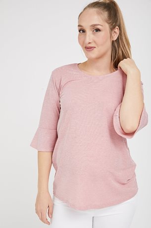 Picture of Bell sleeve Maternity Top Light Pink Stripe