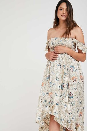 Picture of Kaia Romantic Maternity Dress Cream Floral