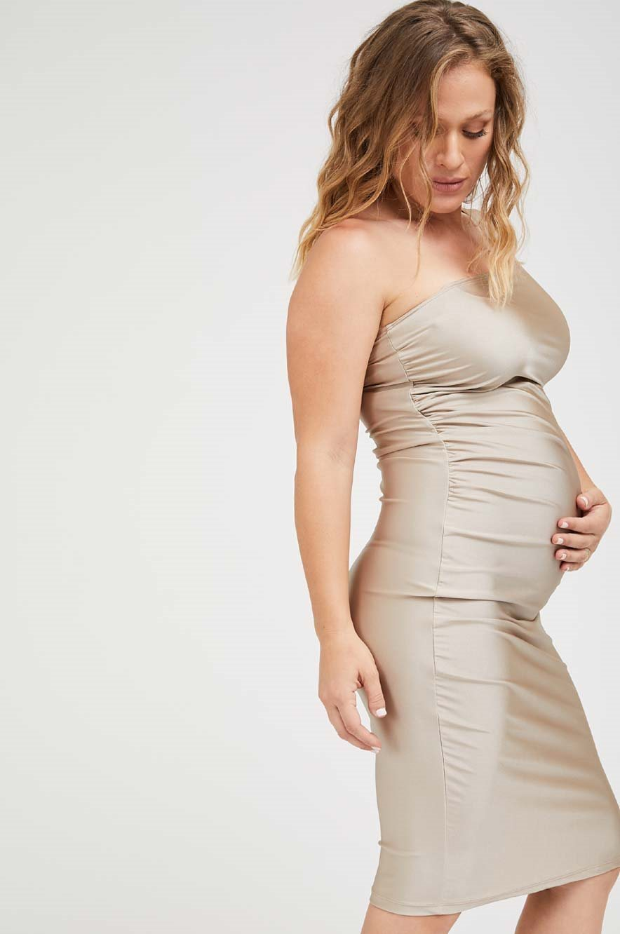 Picture of Amanda One Shoulder Maternity Dress Champagne