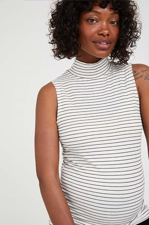 Picture of Mock Neck Sleevless Maternity Top Cream Stripes