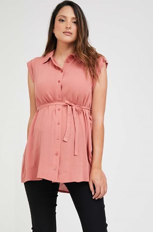 Picture of Sleeveless Button Down Maternity Top Pink Clay