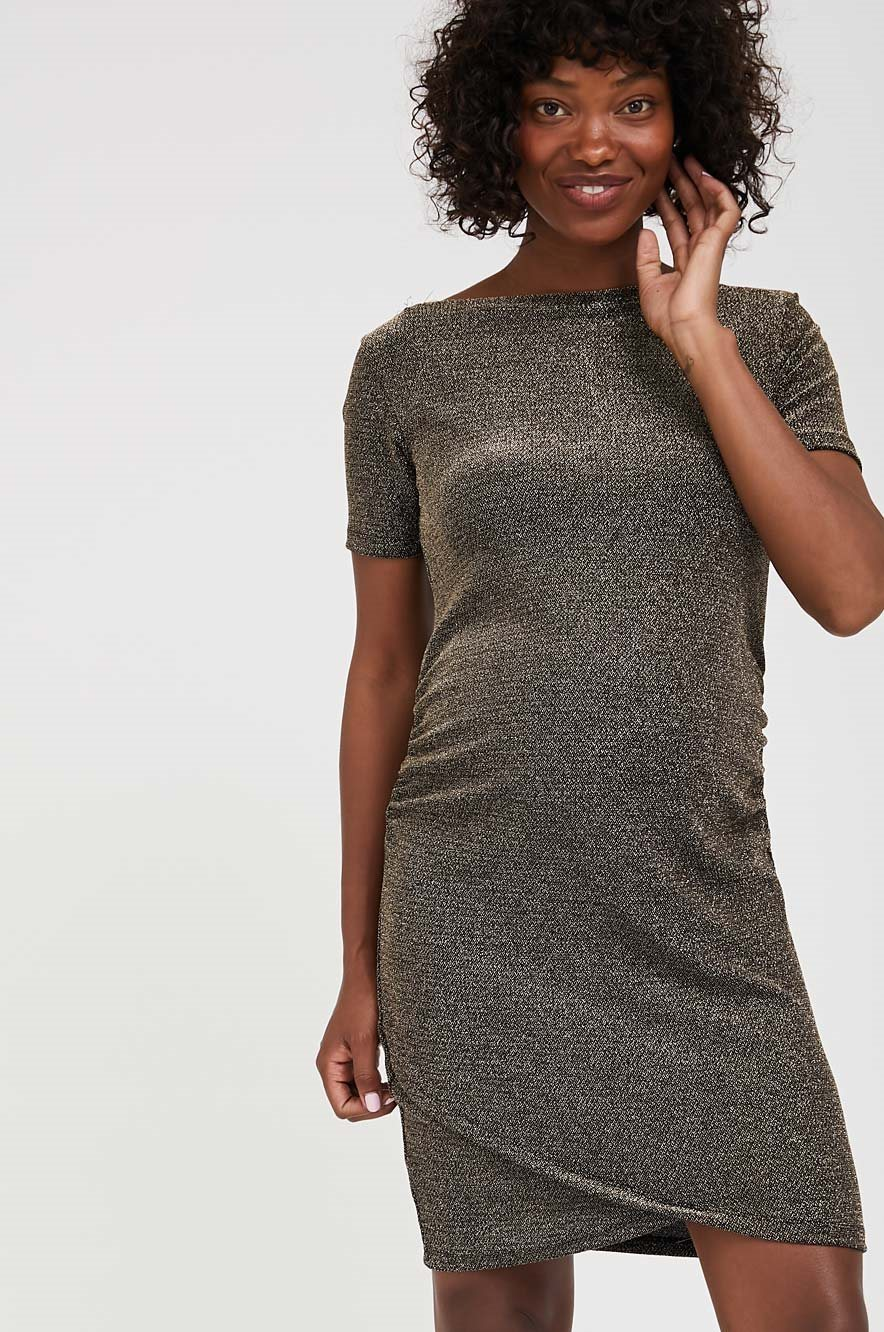 Picture of Nella Fitted Maternity Dress Gold