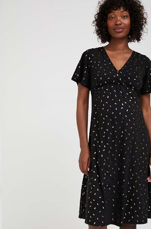 Picture of Odelia Maternity Dress Black Gold Print