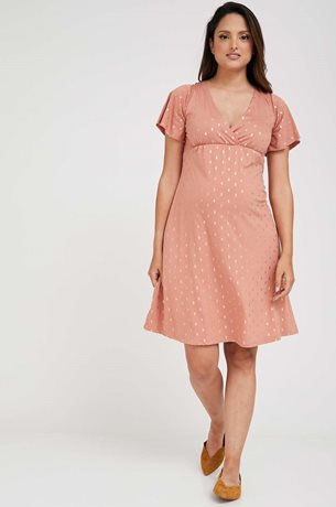 Picture of Odelia Maternity Dress Pink Gold Print