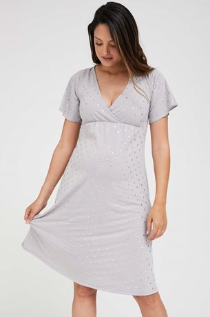 Picture of Odelia Maternity Dress Purple Gold Print