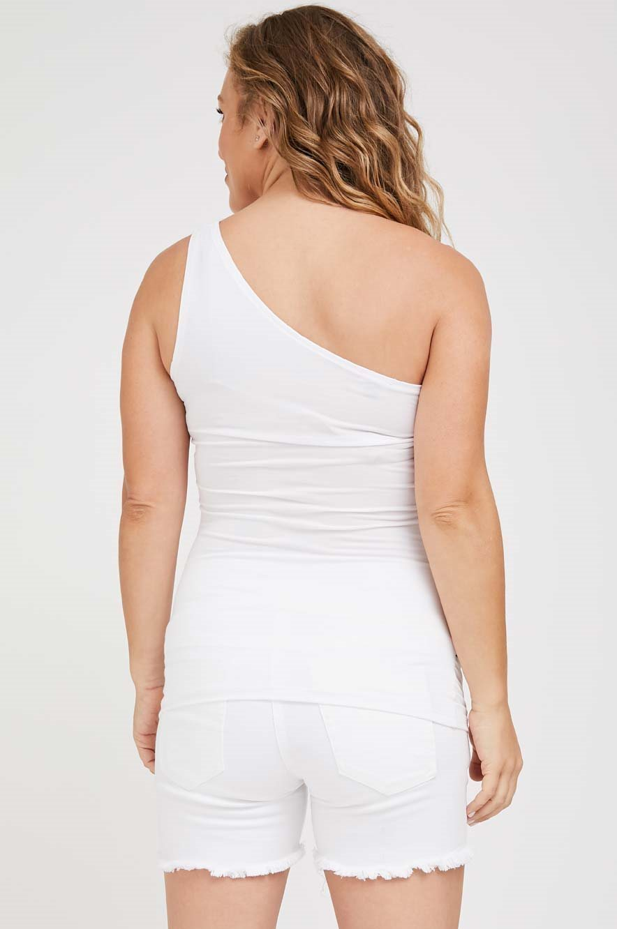 Picture of One shoulder tank White
