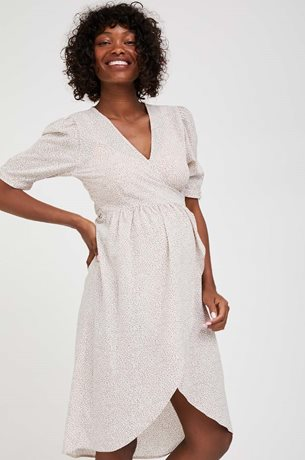Picture of Wrap Over Bell Maternity Dress Cream