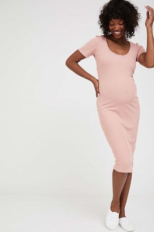 Picture of Classic Ribbed Maternity Dress Pink