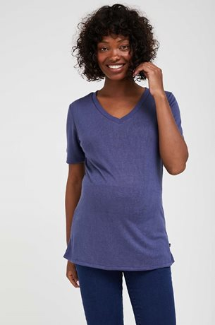 Picture of Val Maternity Linen T-shirt Blue