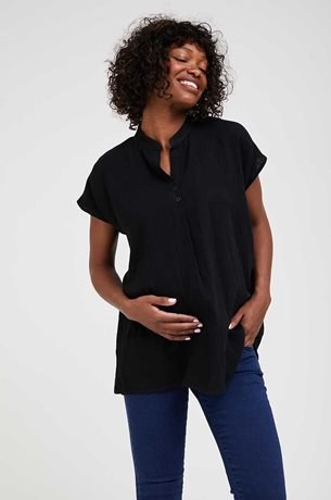 Picture of Oversize Cotton Maternity Blouse Black
