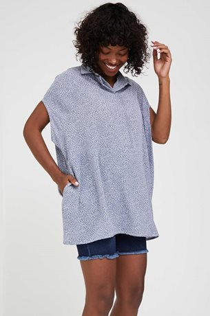 Picture of Tahel Oversize Maternity Blouse Blue Print