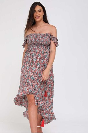 Picture of Kaia Romantic Maternity Dress Blue and Red