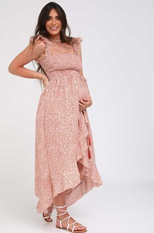 Picture of Kaia Romantic Maternity Dress Clay Print